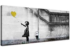 Cheap Yellow Canvas Art of Banksy Balloon Girl