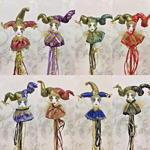 Mardis Gras Jester Ornament On Stick ~ Masquerade Party Theatre Decor