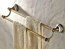 Retro Antique Brass Wall Mounted Bathroom Double Towel Bar Towel Rack eba407