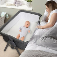 Side Sleeper Bedside Portable Infant Bassinet,With Mattress and Storage Bag Grey