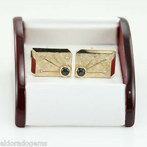 0.15 CT. DIAMOND & 5 MM SMOKEY TOPAZ LARGE MEN'S CUFFLINKS 14K YELLOW GOLD