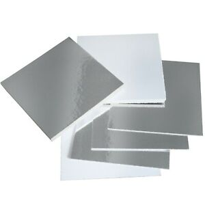 """Reversible Silver & White Square Cake Boards - 1.5mm Cards - 6"""", 8"""" & 10"""" Inch"""