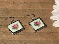 Recycled Broken Porcelain Jewelry, Rose Dangling Wire Earrings