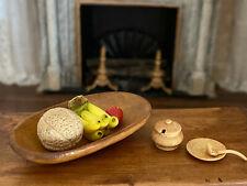 Vintage Miniature Dollhouse Artisan Carved Signed Wood Table Bowl & Tureen Set