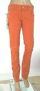 Jeans Donna Pantaloni MET Italy C739 Gamba Dritta Arancione Bruciato Tg 27