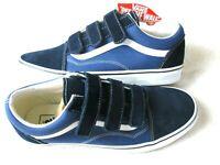 Vans Mens Old Skool V Hook & Loop Canvas Suede Skate shoes Dress Blue Size 11