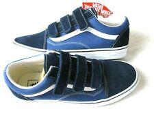 Vans Mens Old Skool V Hook & Loop Canvas Suede Skate shoes Dress Blue Size 10
