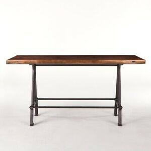 """72"""" L Darius Table Recycled Hardwood Top Butterfly Joinery Industrial Iron Base"""