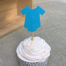 12 X BODYSUIT CUPCAKE/CAKE TOPPER PICKS / BLUE BABY SHOWER/ PARTY