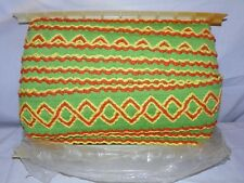 "Vtg Wide Orange Green Trim Edging 3.25"" Retro 24 yard bolt bold Diamond Latin"