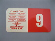 VINTAGE SAS~SCANDINAVIAN AIRLINES SYSTEM~CONTROL CARD~SEAT#9~RED/WHITE~LAMINATED