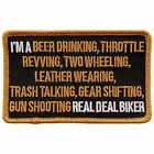 """Beer Drinking Throttle Iron On Patches-Sew On Artwork Applique Patch, 4"""" x 3"""""""