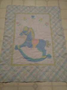 VINTAGE BABY DREAMS CRIB BLANKET COMFORTER ROCKING HORSE PASTEL 40 X 32 1980'S