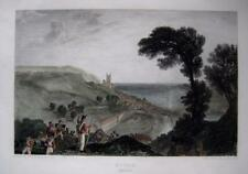 HYTHE  KENT  BY   J M W TURNER  GENUINE ANTIQUE ENGRAVING  HAND COLOUR  c1826
