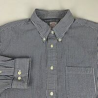 Brooks Brothers Madison Button Down Shirt Men's XL Blue Striped Long Sleeve