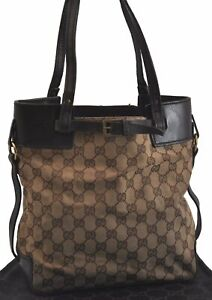 Authentic GUCCI Hand Bag GG Canvas Leather Brown Beige B8704