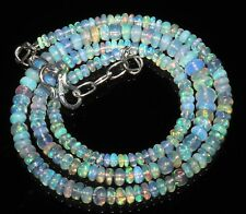"""40 TCW 3to5.5MM 17""""NATURAL GENUINE ETHIOPIAN WELO FIRE OPAL BEADS NECKLACE-87769"""