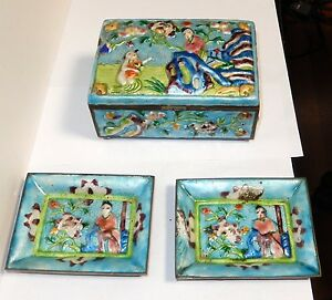 OLD CHINESE EMPEROR REPOUSSE CLOISONNE ENAMEL HUMIDOR BOX AND TRAYS SET