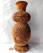 "Vintage wooden vase Roman Greek soldier helmet folk art carved wood ornament 10"""