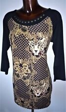 Klass Black & beige tiger print stretch bodycon tunic dress/top size M  14 new