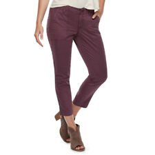 Women SONOMA Beyond Plum Purple Straight-Leg Sateen Ankle Pants Petite 14