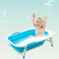 Blue Baby Folding Bathtub Infant Collapsible Portable Shower Basin w/ Block