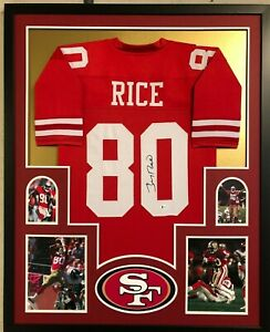 FRAMED SAN FRANCISCO 49ERS JERRY RICE AUTOGRAPHED SIGNED JERSEY BECKETT COA