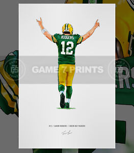 Aaron Rodgers Green Bay Packers Touchdown Football Illustrated Print Poster Art