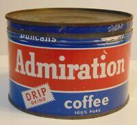 Vintage 1950s ADMIRATION DUNCAN COFFEE KEYWIND COFFEE TIN 1 POUND HOUSTON TEXAS