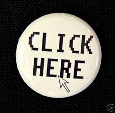 "CLICK HERE - Novelty Fun White Button Pin Badge 1"""