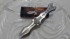 Tom Anderson Blue Silver Devil Ray Twin Blade Folding Dagger Pocket Knife