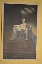 ABRAHAM LINCOLN MEMORIAL WASHINGTON D.C. 1940 POSTCARD