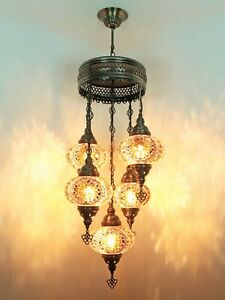 Turkish Mosaic Lamp Chandelier 5 GLOBE