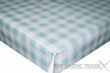 Duck Egg Blue Gingham Checked PVC Tablecloth Vinyl Oilcloth Kitchen Dining Table