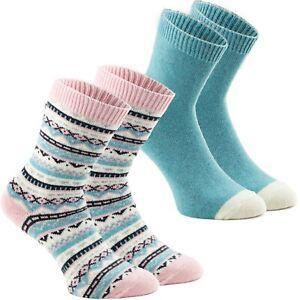 2 Paar Damen Socken Norwegersocken Woll-Mix Rosa Mint Cashmere Touch Gr. 35-42