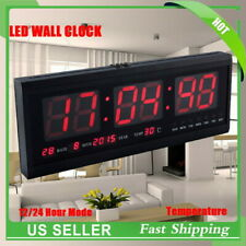 Large Digital Jumbo LED Wall Desk Alarm Clock Display Calendar Temperature Date