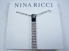 "Swarovski Crystals - 16-18"" length 0888 Nina Ricci Rhodium Plated Pendant with"