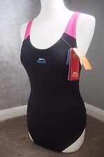 Slazenger Swimsuit 12 M, Black Blue Pink, UV Protection, Chlorine Resistant BNWT
