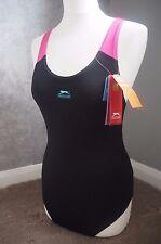 Slazenger Swimsuit 12 M, Black Blue Pink, UV Protection, Chlorine Resistant BNWT