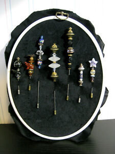 Handemade Beaded Hat Stick Pins Assorted Lot of 7