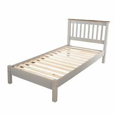 Corona Grey Washed-Effect Furniture 3FT Single Solid Pine Bed Lowend