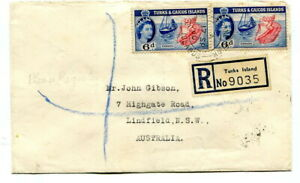 """Turks & Caicos 1960 6d.+6d. registered cover to Australia 2 different """"R"""" labels"""