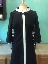 Vintage 60s Domani Knits Black White Dress Mod go go retro Size M