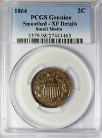 1864 Small Motto Two Cent Piece Key Date Coin PCGS XF Details Smoothing 2 Cents