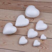 10Pcs White Polystyrene Styrofoam Foam Modelling DIY Heart Shape Craft Decor;BLY