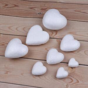 10Pcs White Polystyrene Styrofoam Foam Modelling DIY Heart Shape Craft Decor