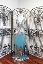J91 MAC DUGGAL SILVER BLUE SEQUIN SZ 0 BEADED PROM PAGEANT FORMAL GOWN DRESS