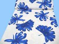 """Doppelgewebe: Jersey """"Blumen"""", weiß-blau, 140 cm br,  Mw, ab 0,5 m  (€ 15,00/qm)"""