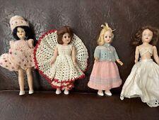 Lot of 4 Vintage 50's 7- 8� Dress-Me Dolls 3 W Crochet Dresses-Hard Plastic