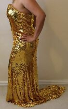 Sparkling High Low Celebrity Evening Formal Dress Prom Party Gown Gold